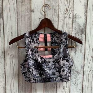 90 degrees black floral sports bra size medium